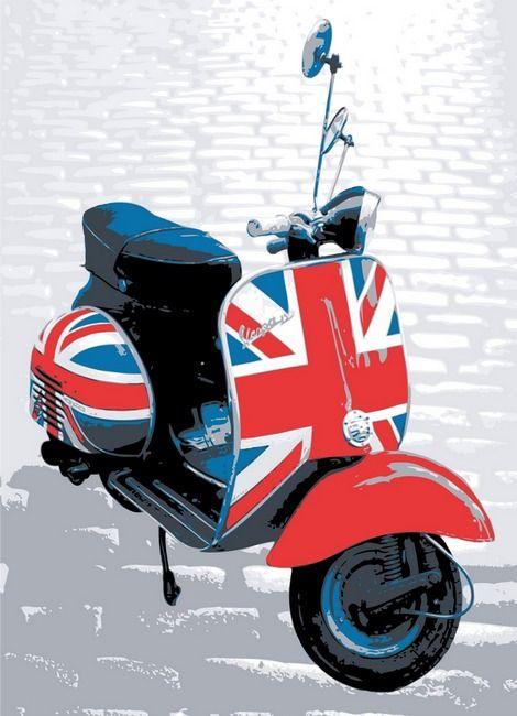 Vespa Scooter - Mod Style, Pop Art Print   Michael Tompsett