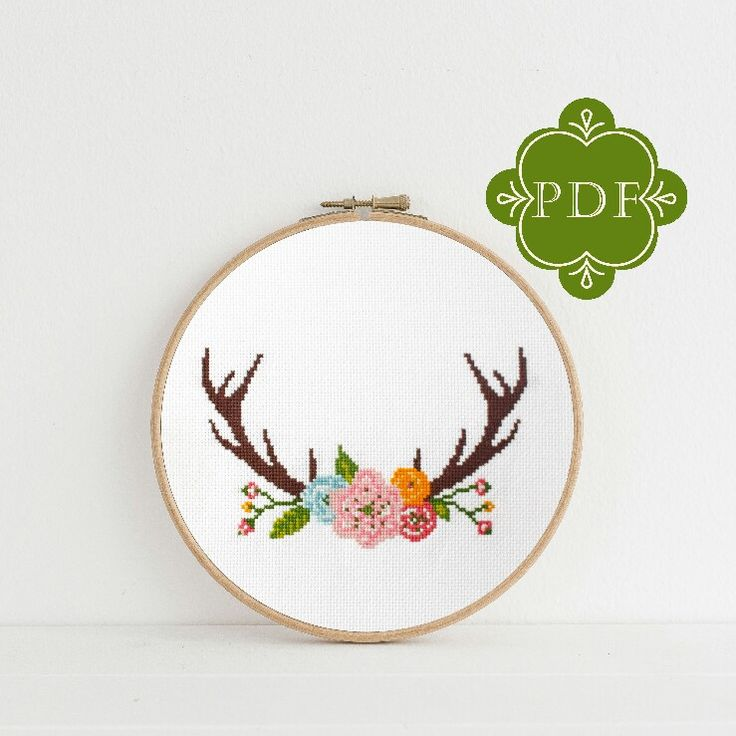 Dear Sukie PDF Counted Cross Stitch - Antlers / floral cross stitch, diy, how-to, embroidery, pattern, gift, dmc, supply, instruction, boho #etsy #supplies #crossstitch #pattern #instructions #dmc #crafttherapy #handmade #gift #countedcrossstitch #xstitch #modernxstitch #moderncrossstitch #xstitchersofinstagram #boho #bohodecor #bohonursery #antlers  http://etsy.me/2DPn0ib