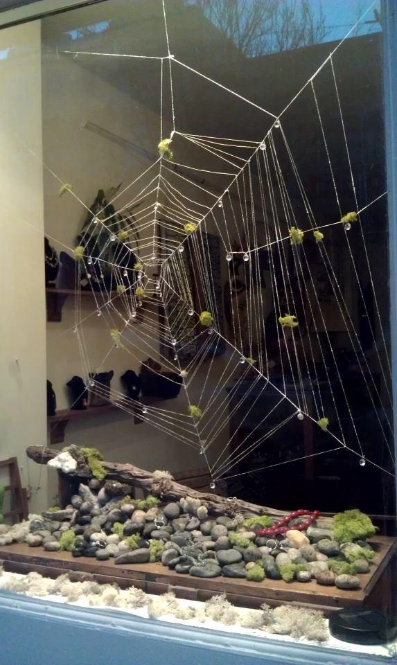 Shelf-rocks & moss  Window web Installation at The Bead Store, 320 Fillmore St. San Francisco