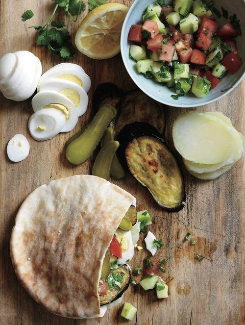 Israeli Eggplant, Hummus and Pickle Sandwich