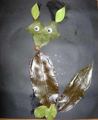 animaux en feuilles séchées