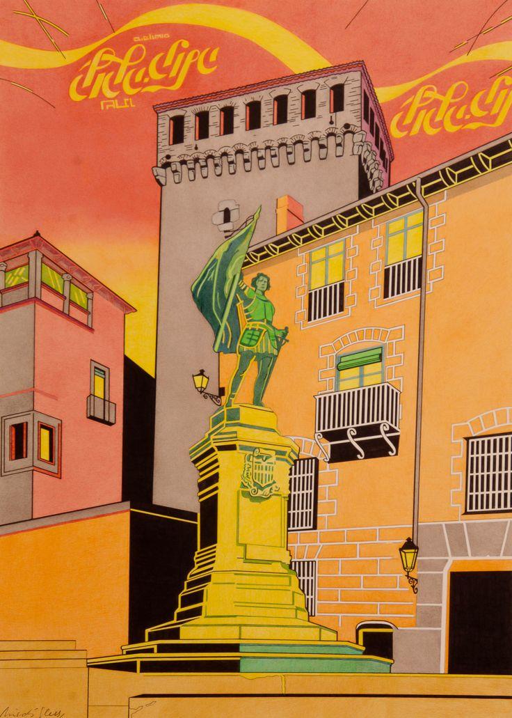 """""""Juan Bravo y Coca-Cola"""", es la bellísima plaza con Juan Bravo y el Torreón de Lozoya y sobre el cielo en rojo la marca Coca-Cola en hebreo, como respuesta a la Red de Juderías, mas pendientes del turismo, que de la propia cultura judía."""