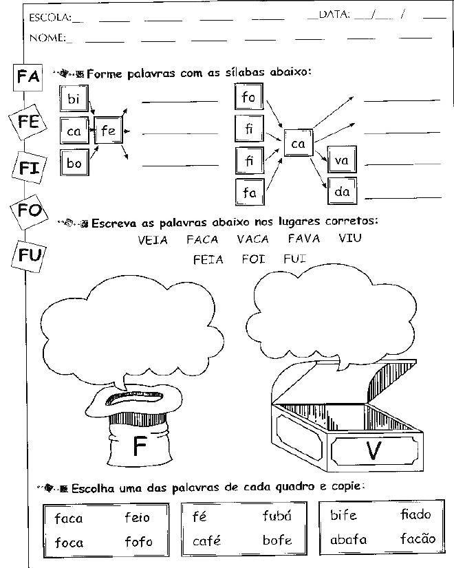 Silabas Com Fa Fe Fi Fo Fu Para As Aulas De Alfabetizacao