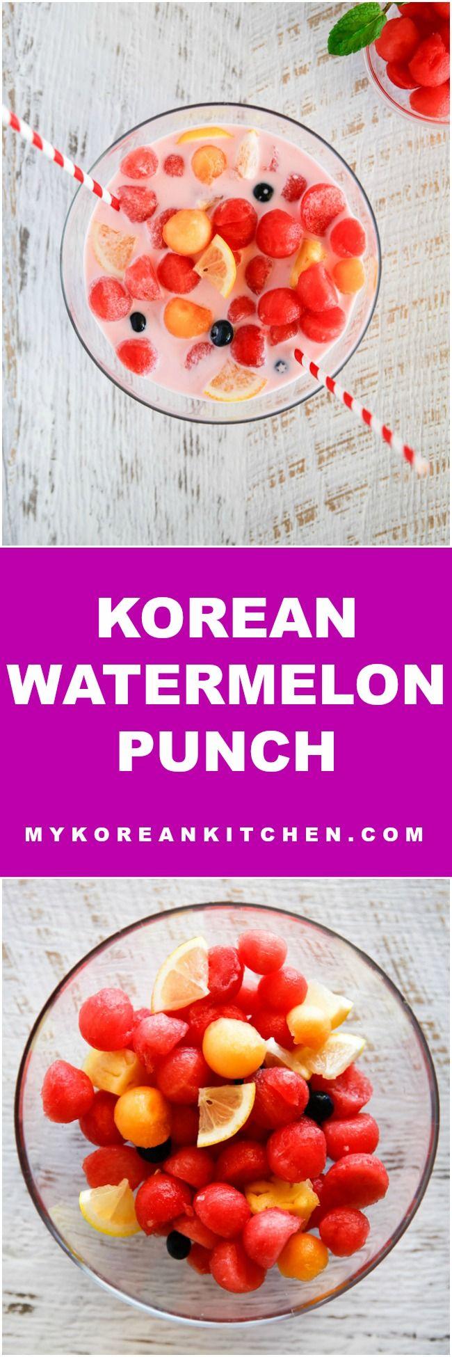 Strawberry Milk Flavoured Korean Watermelon Punch | MyKoreanKitchen.com