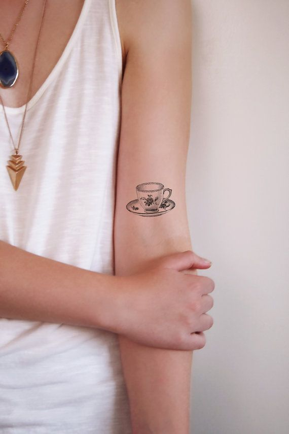 Small teacup temporary tattoo / tea temporary tattoo by Tattoorary
