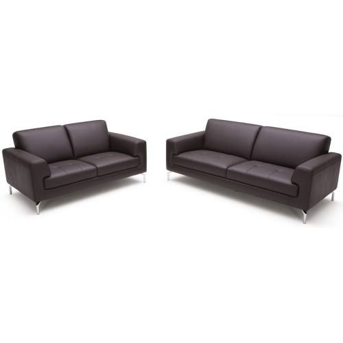 "The Haley Sofa has a clean and simple timeless design.  Haley is covered in a soft 1.0mm leather with a split grain leather on the back and sides. Available in black or white leather, but can be special ordered in different colors.  Set includes sofa and loveseat.  *Price is discounted based on set and this price cannot be combined with any other store discount.   Sofa: 82""x 37""x 32""  Loveseat: 64""x 37""x 32"""