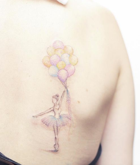 Pastel-colored ballerina dancer with balloons by Mini Lau