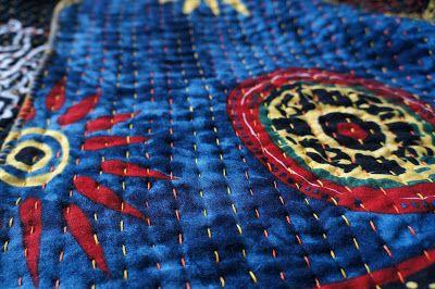 Minimal Boho: DIY: My first kantha blanket!