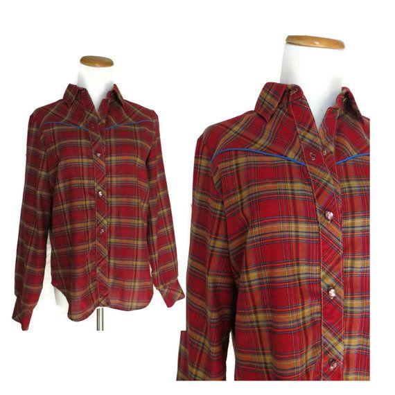 Mens Western Shirt / Mens Plaid Shirt / Plaid Button Up / Red Plaid Shirt / 70s Plaid Shirt / 70s Western Shirt / Mens Button Up / Small