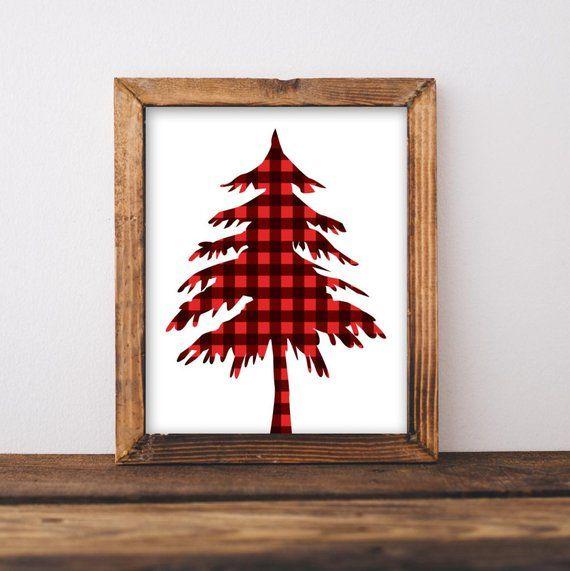 Christmas Music Tours Buffalo 2020 Rustic Christmas Printable Rustic Tree print Red plaid tree   Etsy