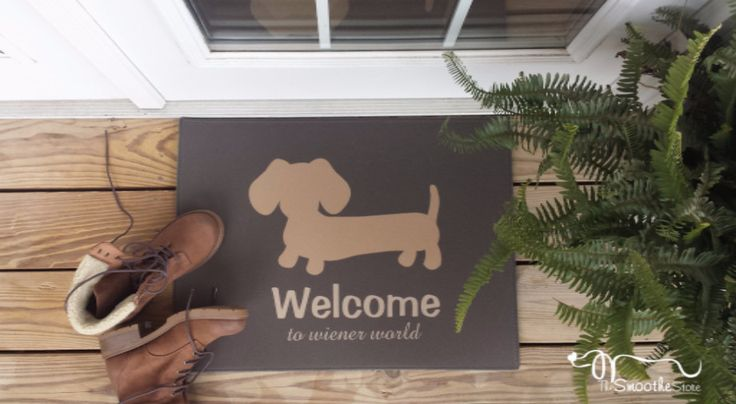 Welcome to Wiener Dog World where the barking, begging, fun and laughter never end! Dachshund doormat from TheSmootheStore, your doxie gift headquarters!