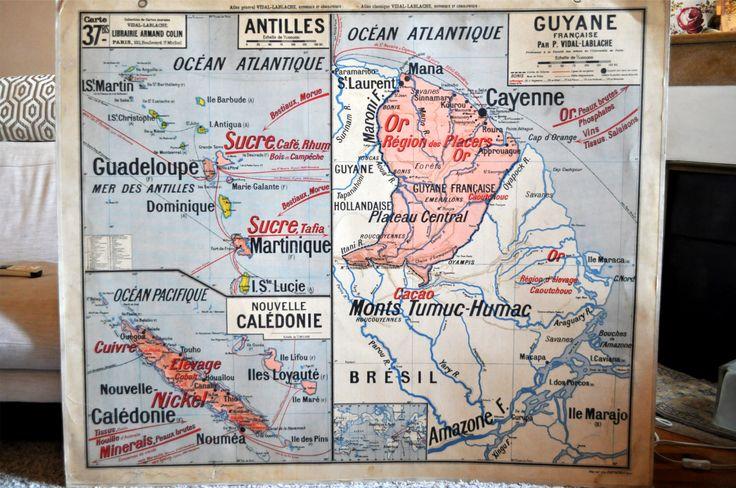 carte scolaire Antilles, Guyane Française, Nouvelle-Calédonie et Afrique Occidentale, Vidal Lablache