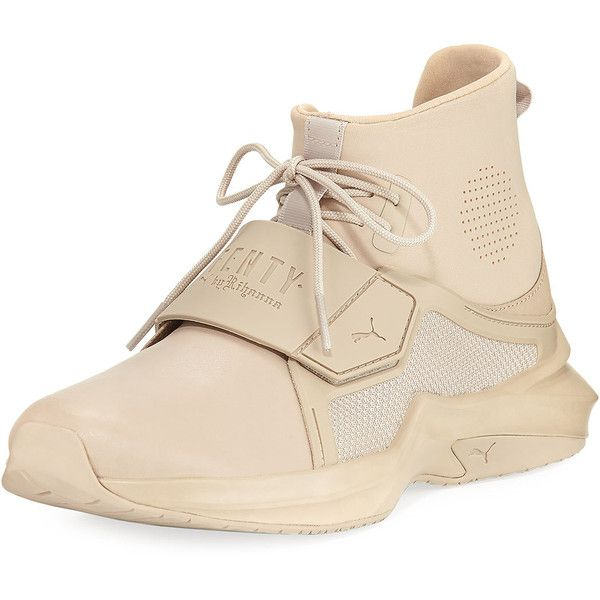 Fenty Puma By Rihanna The Trainer Hi Sneaker ($190) ❤ liked on Polyvore featuring shoes, sneakers, beige, lace up flats, lace up flats shoes, slip-on sneakers, lace up flat shoes and puma trainers