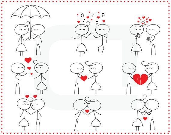 Palillo figura aman novios reunión stickman familia lindo clip art clipart digital uso Personal (23)