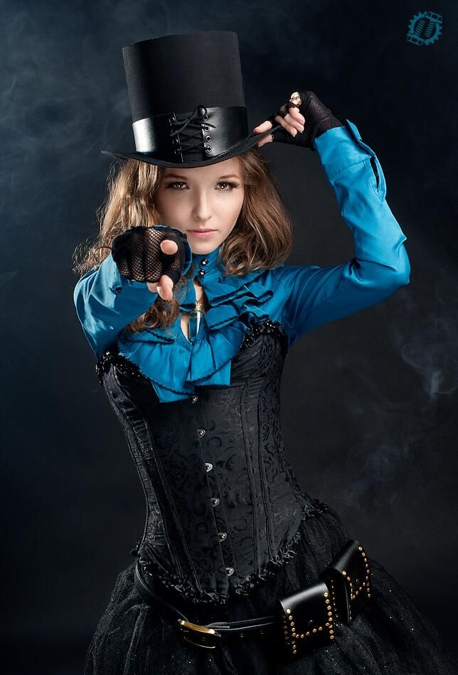 Steampunk Tendencies | Steampunk victorian girl by LahmatTea. I like the blue!!