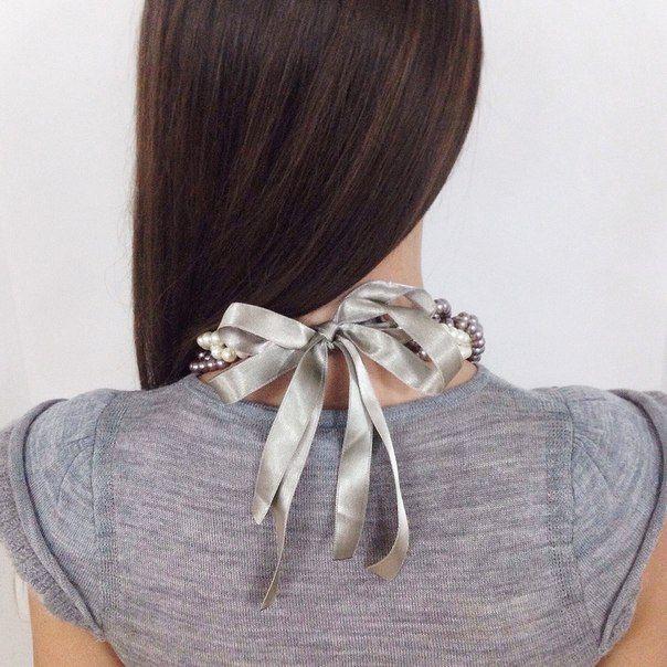 Жемчужное ожерелье в цвете капучино