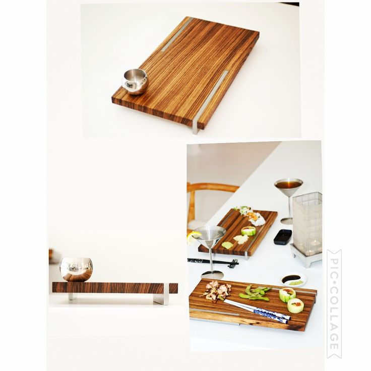 Fengsushi-Authentic Zebrawood sushi planks, staggered brushed stainless steel supports emulate a Japanese clog.