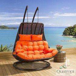 Outdoor Rattan 2 Person Garden Hanging Chair / Sunbed Black/Orange New
