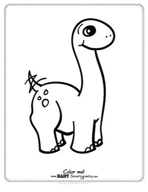 Free Coloring Page Cute Baby Dinosaur