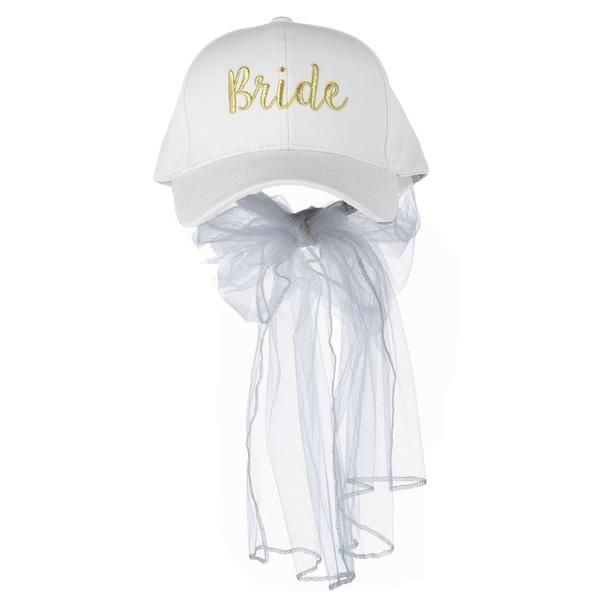 Make Way For The Bride With This Unique Baseball Hat It Is One Size Fits Most And Is Adjustable From 19 Inches To 23 5 Inches The 24 Bride Veil Hats For Women