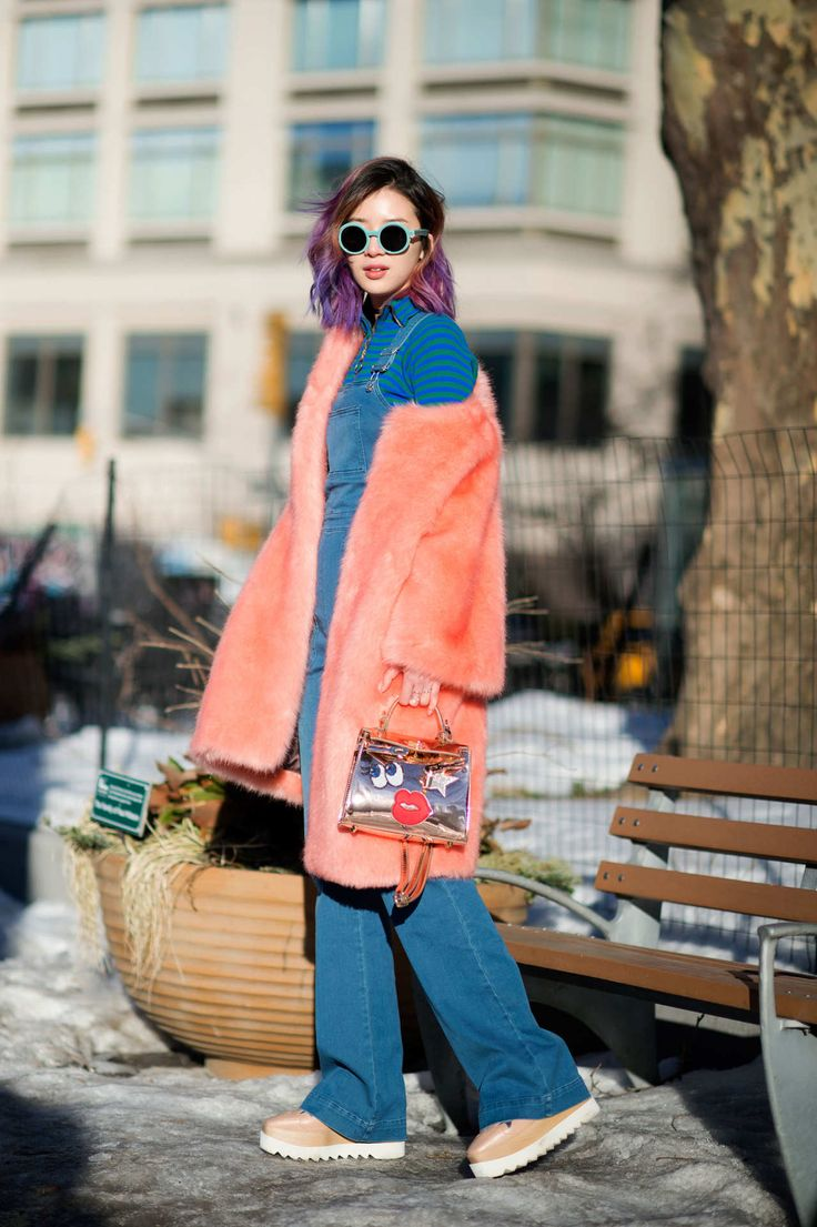 Cool denim overalls. NYC #Irene Kim