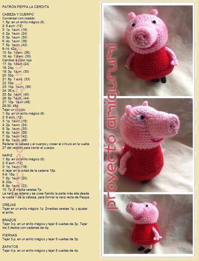 Peppa Pig La Cerdita Amigurumi - Patrón Gratis en Español: