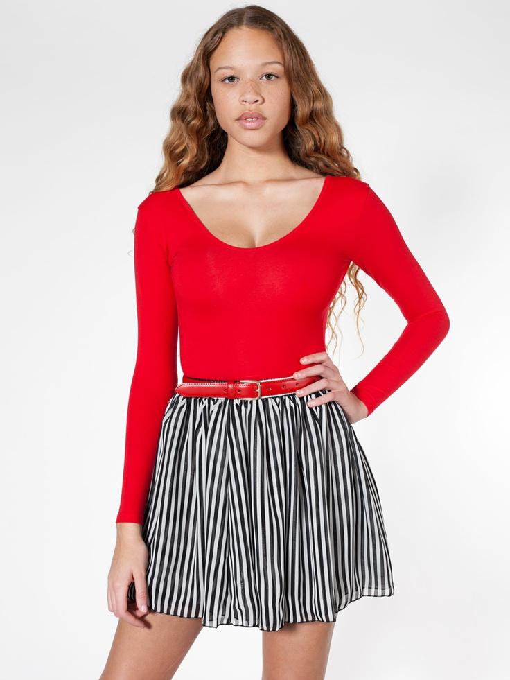 American Apparel - Stripe Chiffon Double-Layered Shirred Waist Skirt