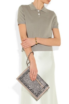 VALENTINO The Rockstud crystal-embellished leather clutch