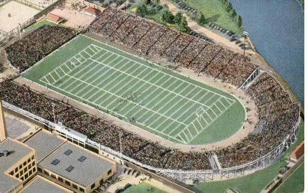 Aerial view of City Stadium, former home of the Green Bay Packers from 1925 to 1956. Currently it is the home of the Green Bay East High School football team.