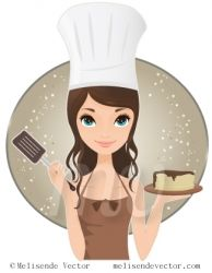Chef woman holding pancakes and spatula ... LOVE