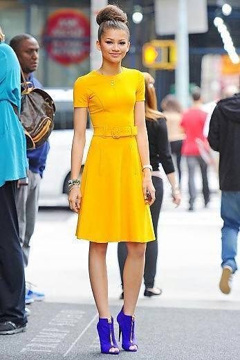 DWTS & Disney star Zendaya, in fun bright primary colors. Very cute.