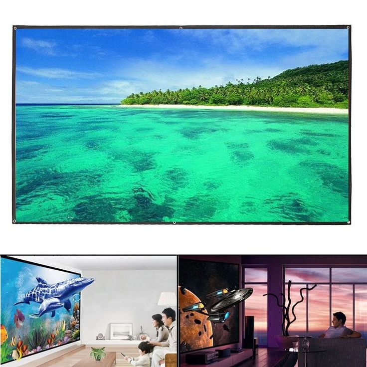 100 Inch 16:9 White Portable Fold Fabric Projection Screen for Home HD Projector