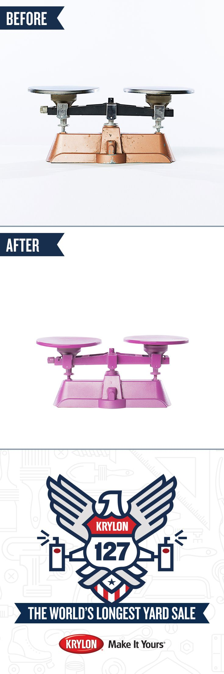 Scale up your décor! Transform an ordinary metal scale into a work of art with Krylon ColorMaster Paint + Primer in Rich Plum. Let this makeover from the #Krylon127YardSale inspire you to turn your yard sale finds into treasures.