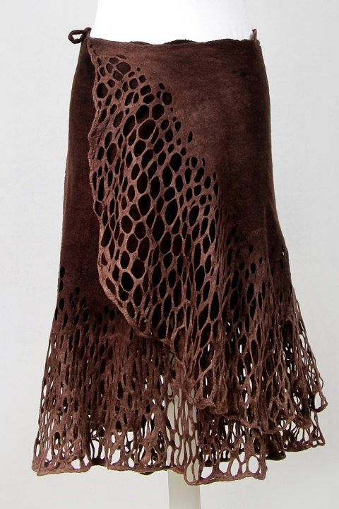 Felted brown wrap skirt lace felt light luxury by DosethHandmade