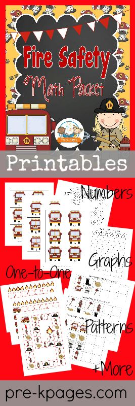 Printable Fire Safety Math Activities for Preschool and Kindergarten {Counting, Number ID, Building Number Sense, 1:1 etc}
