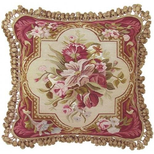 FrenchGardenHouse.comAubusson Rose Pink Floral Pillow