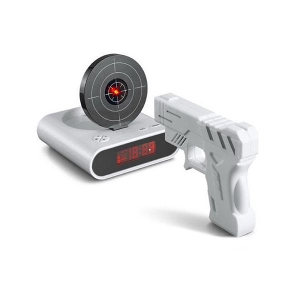 Réveil numérique avec cible pistolet laser original infrarouge blanc