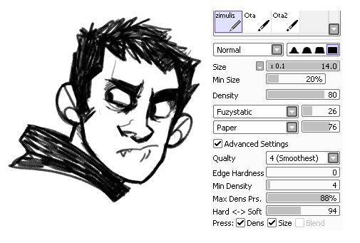 """siins: """"uh ok i recently realized that i only use these brushes to draw in sai. and people still are asking me what ones i use so UGHgdasf here i spill all me secrets!!!1 """""""