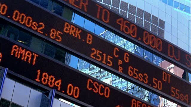 Stock Market Ticker Tape Displaying Real Time Information of Share Market