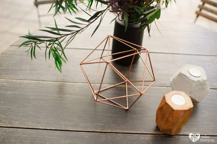 Black and gold geometric decor - concrete & wood