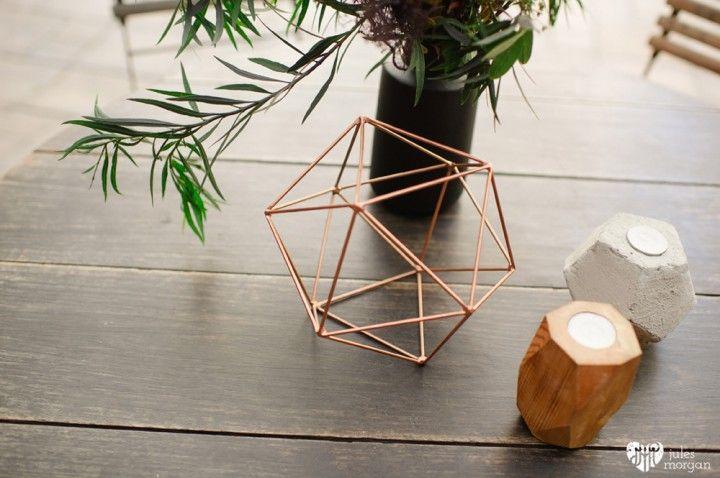 Black and gold geometric decor - concrete & wood