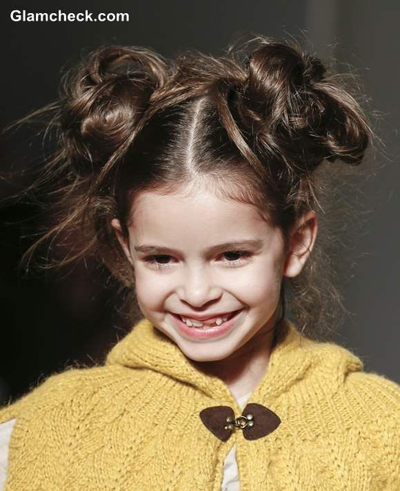 Hairstyle Girl Buns: Messy Double Bun Hairstyle Little Girls