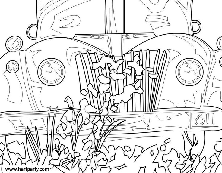 1946 ford traceable and coloring page for live hart party