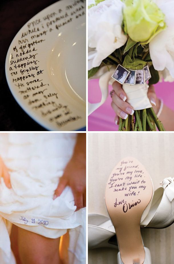 Embroidering the date on the wedding dress - fabulous!