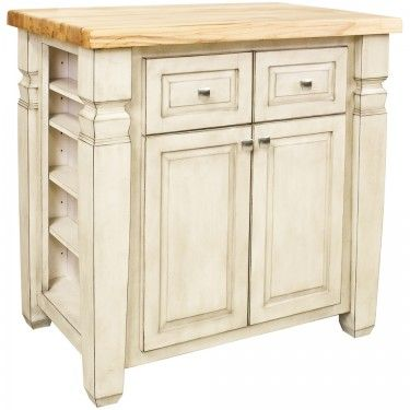 "Loft Kitchen Island 34"" x 22"" x 34-1/4"" in French White. By Hardware Resources"