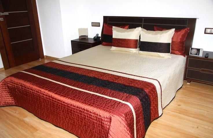 Luxusný prehoz na posteľ krémovo tehlovej farby s prešívaním