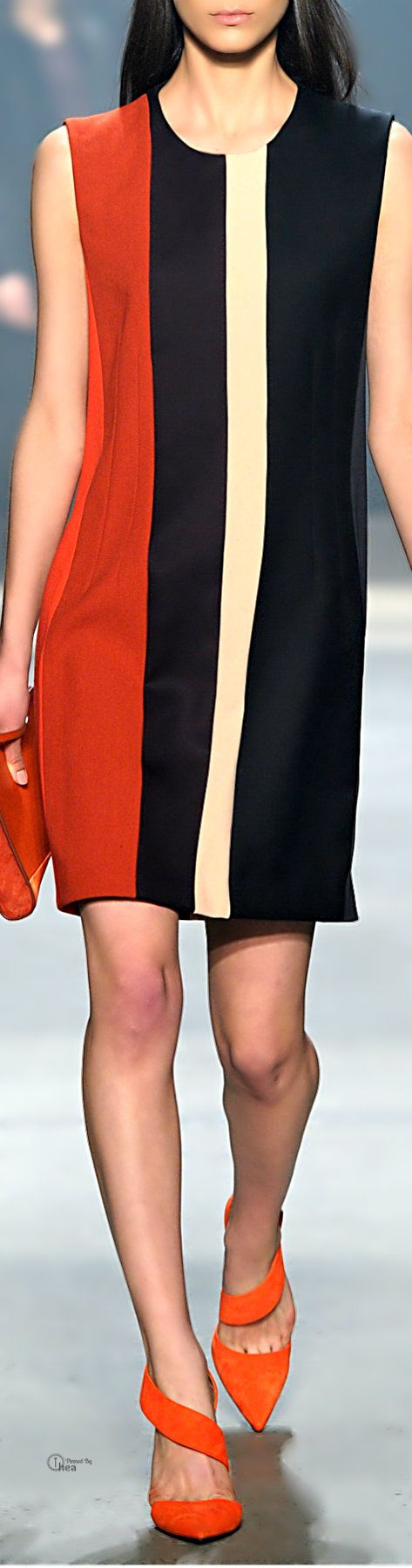 Narciso Rodriguez ● Fall 2014, Wool Crepe Dress. Simple lines with a touch of color, but too short for me. #21 steps style course