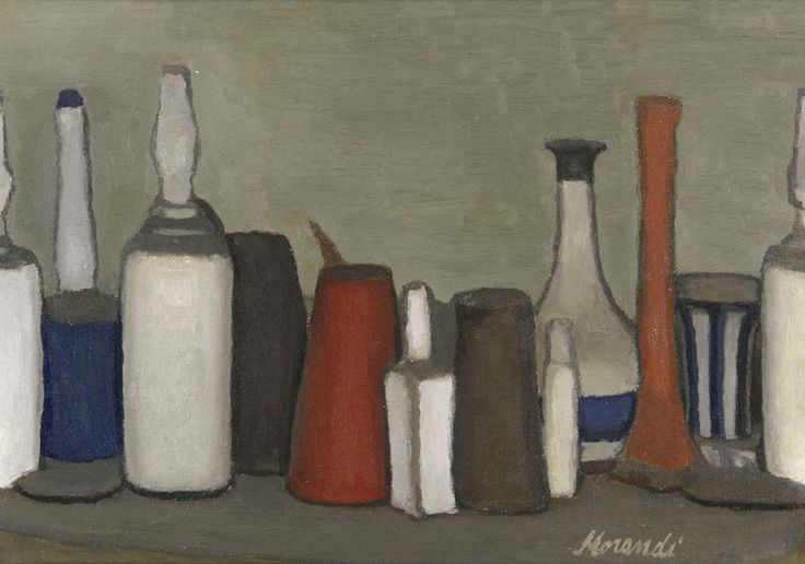 Giorgio Morandi (1890 - 1964) | Natura Morta, 1952, signed Morandi (lower left), oil on canvas, photo Sotheby's. Provenance: José Luis & Beatriz Plaza, Caracas (acquired from the artist. Sold: Sotheby's, London.