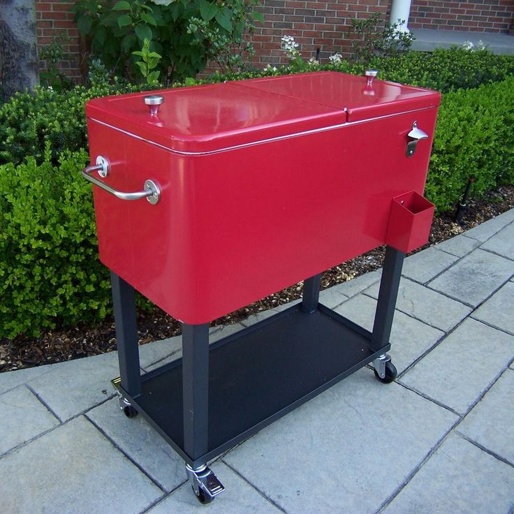 Outdoor Patio Cooler 80 Quart Solid Steel Cart Rolling Red Drinks Home Party