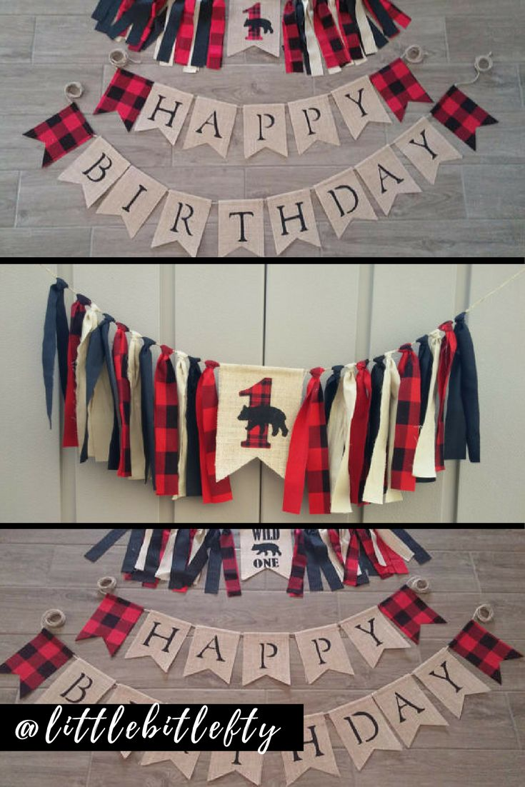 Rustic burlap banner. 1st birthday, happy birthday, high chair banner. Rustic burlap lumberjack banner for boy. 1st birthday lumberjack party banner.